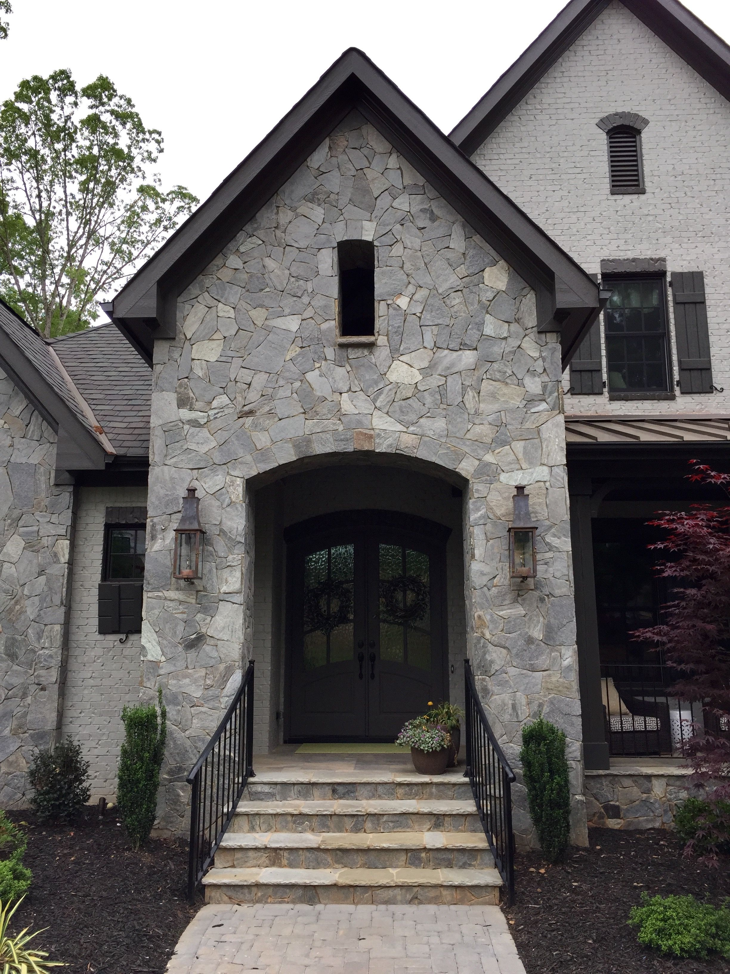 ARH Plan Asheville 1131F Exterior 42 Stone Dove Gray gray mortar Brick Painted SW7023