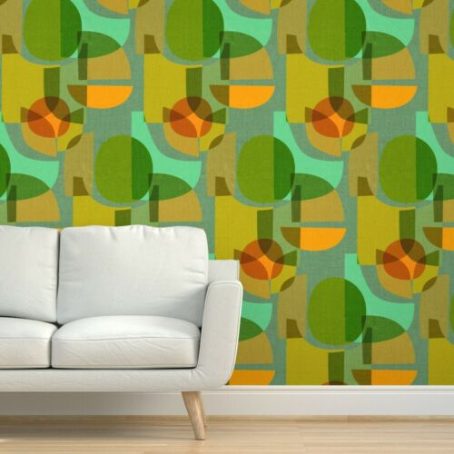 Peel And Stick Removable Wallpaper Mid Century Mid Century Modern Modern Geo Ebay Removable Wallpaper 60s Decor Wood Panel Walls