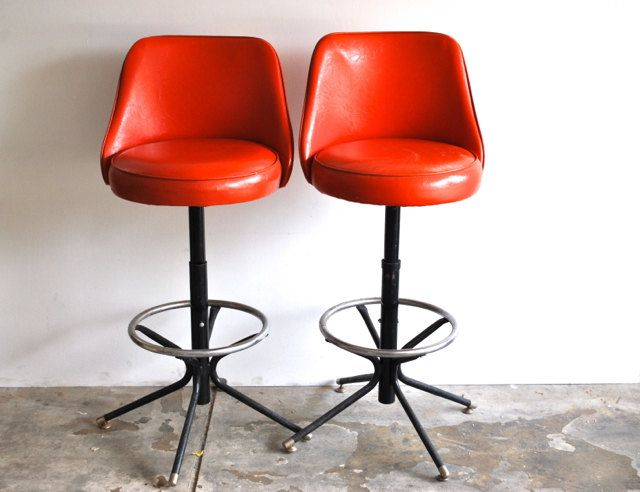 Mid Century Stools - Vintage Red Orange Swivel Barstools - Retro & Mid Century Stools - Vintage Red Orange Swivel Barstools - Retro ... islam-shia.org