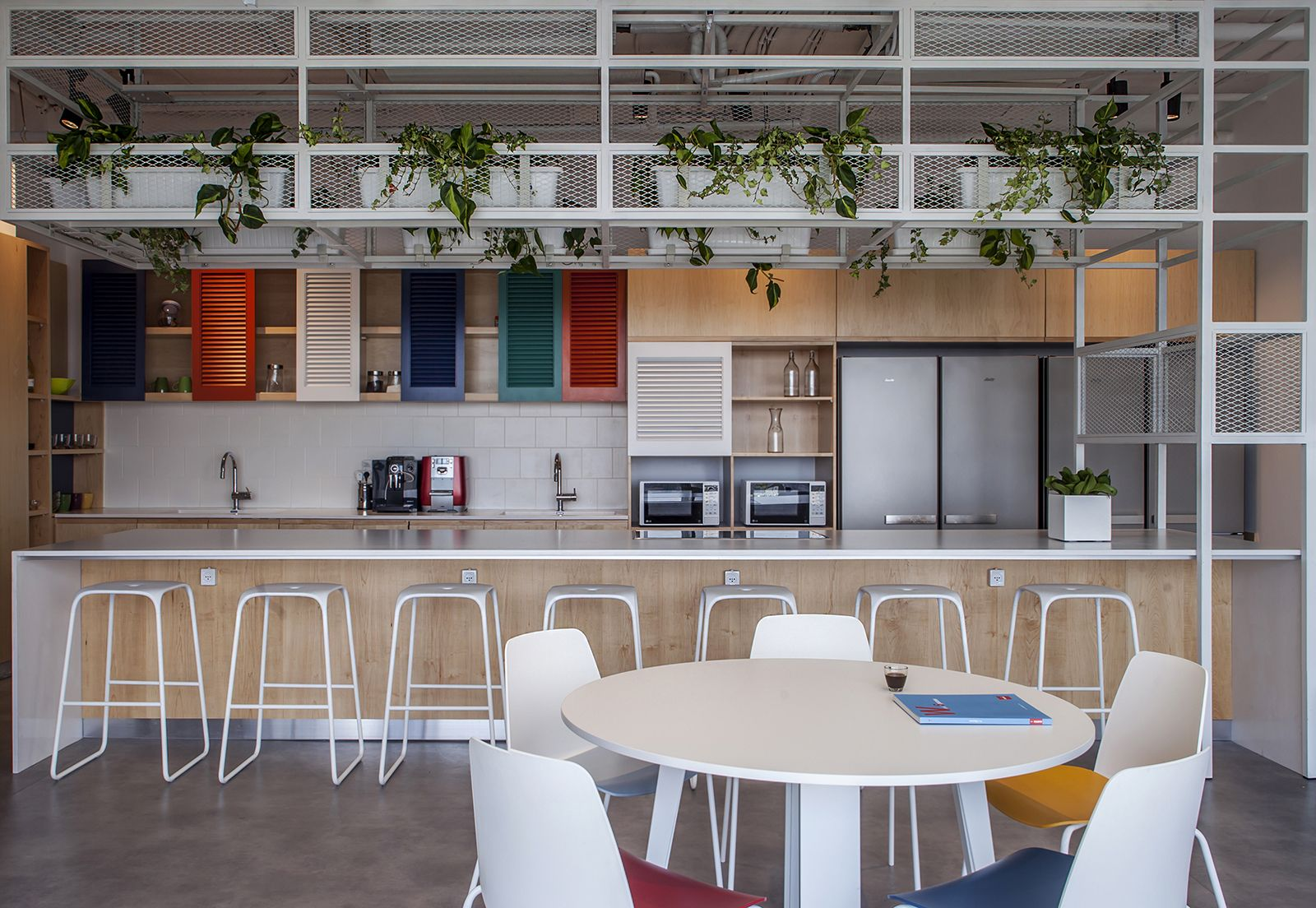 Simple Break Room With Pops Of Color Break Room Decor Interior Indoor Canopy