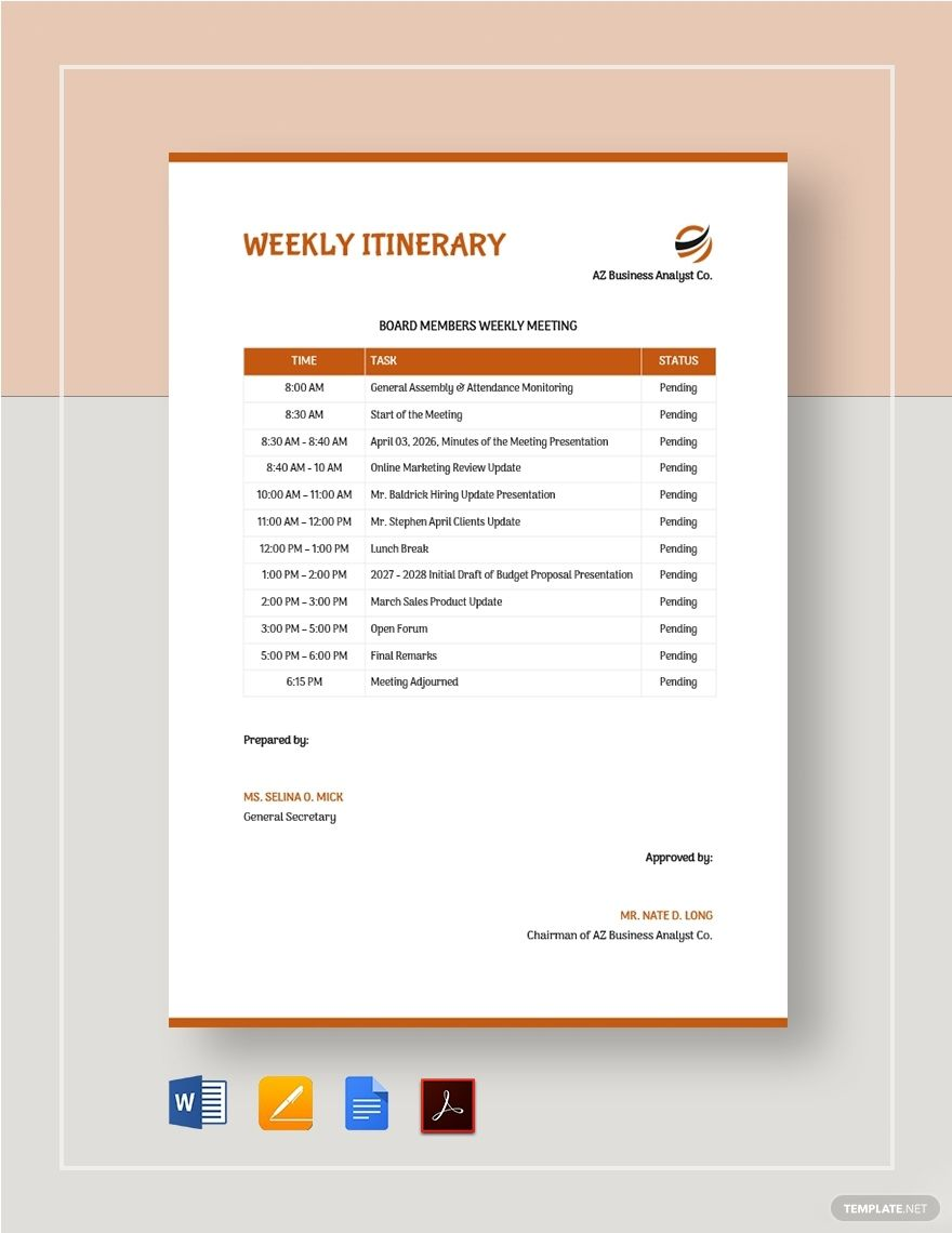Weekly Itinerary Template in 2020 Itinerary template