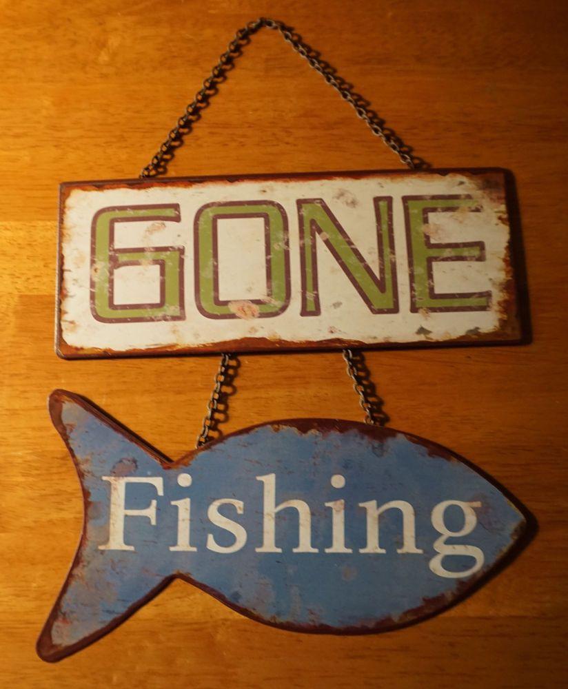 gone fishing hanging fish sign rustic fisherman lodge log cabin