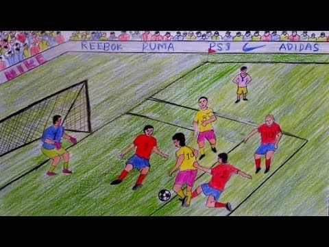 How To Draw A Scenery Of Play Football Step By Step Youtube Football Paintings Football Drawing Drawing For Kids