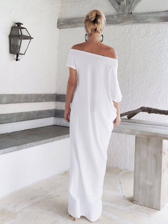 Lange Witte Maxi Jurk.White Maxi Dress Kaftan Long White Dress Plus Size Dress