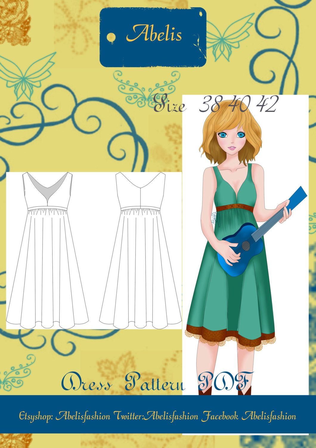 Summer dress pattern, women dress pattern, folk dress, country dress ...