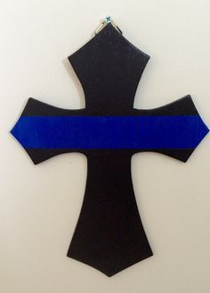 Police Cross LEO wooden cross police sign by CharmingComforts