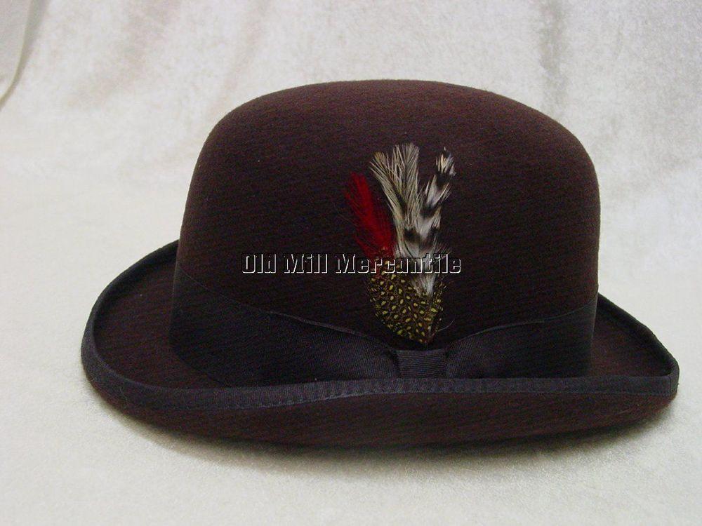mens Brown Derby Old West bowler derby hat wool felt quality hat M-XXL   KennyK  BowlerDerby b09310cc12c