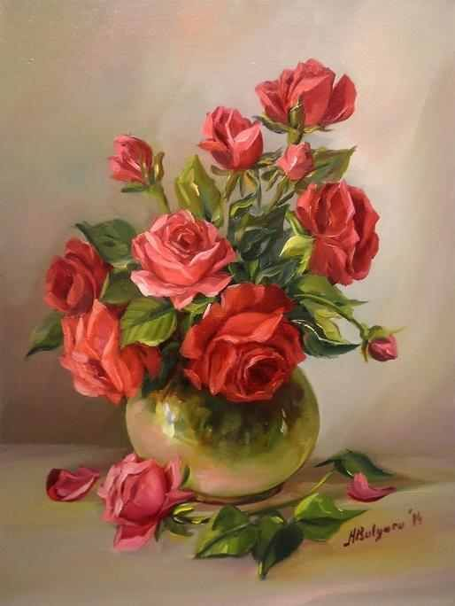 Trandafiri Rosii Imperiali De Anca Bulgaru Suluboya Cicekler