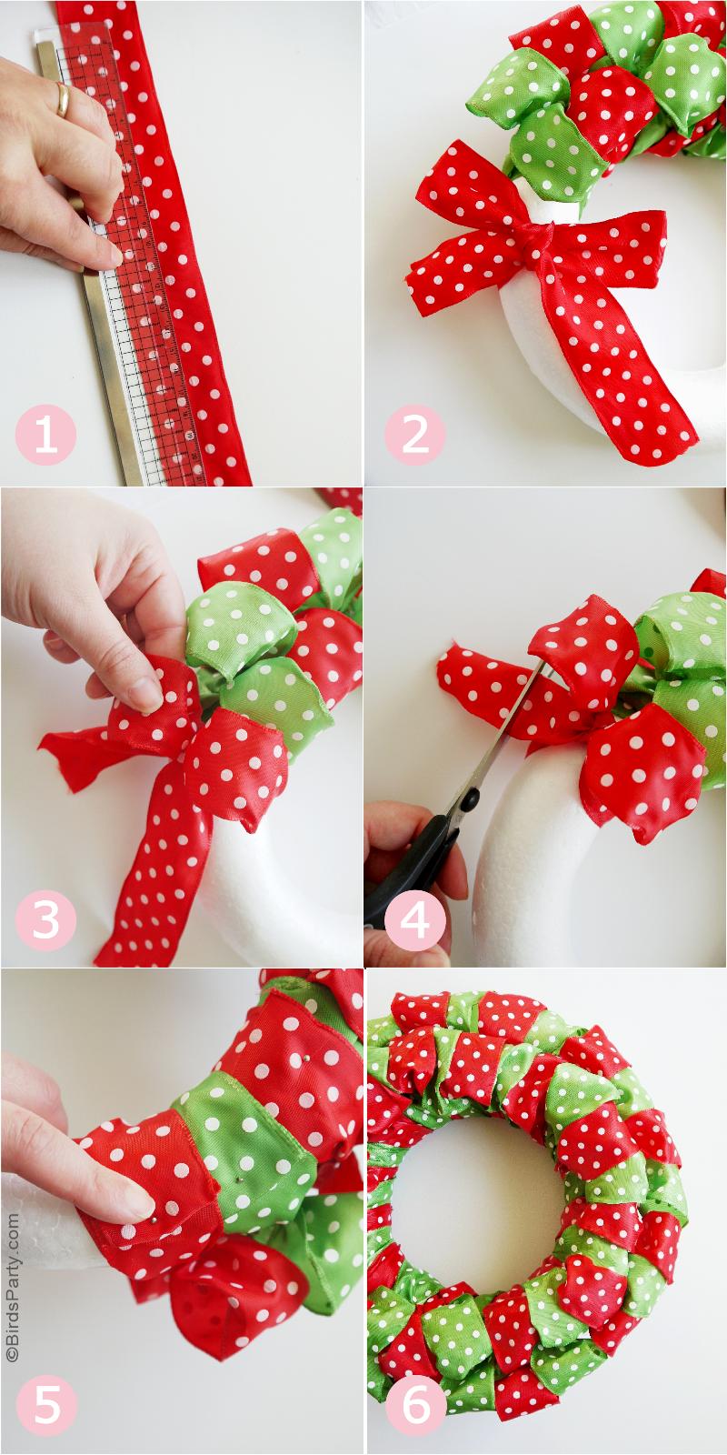 DIY Easy Christmas Ribbon Wreath Christmas ribbon crafts