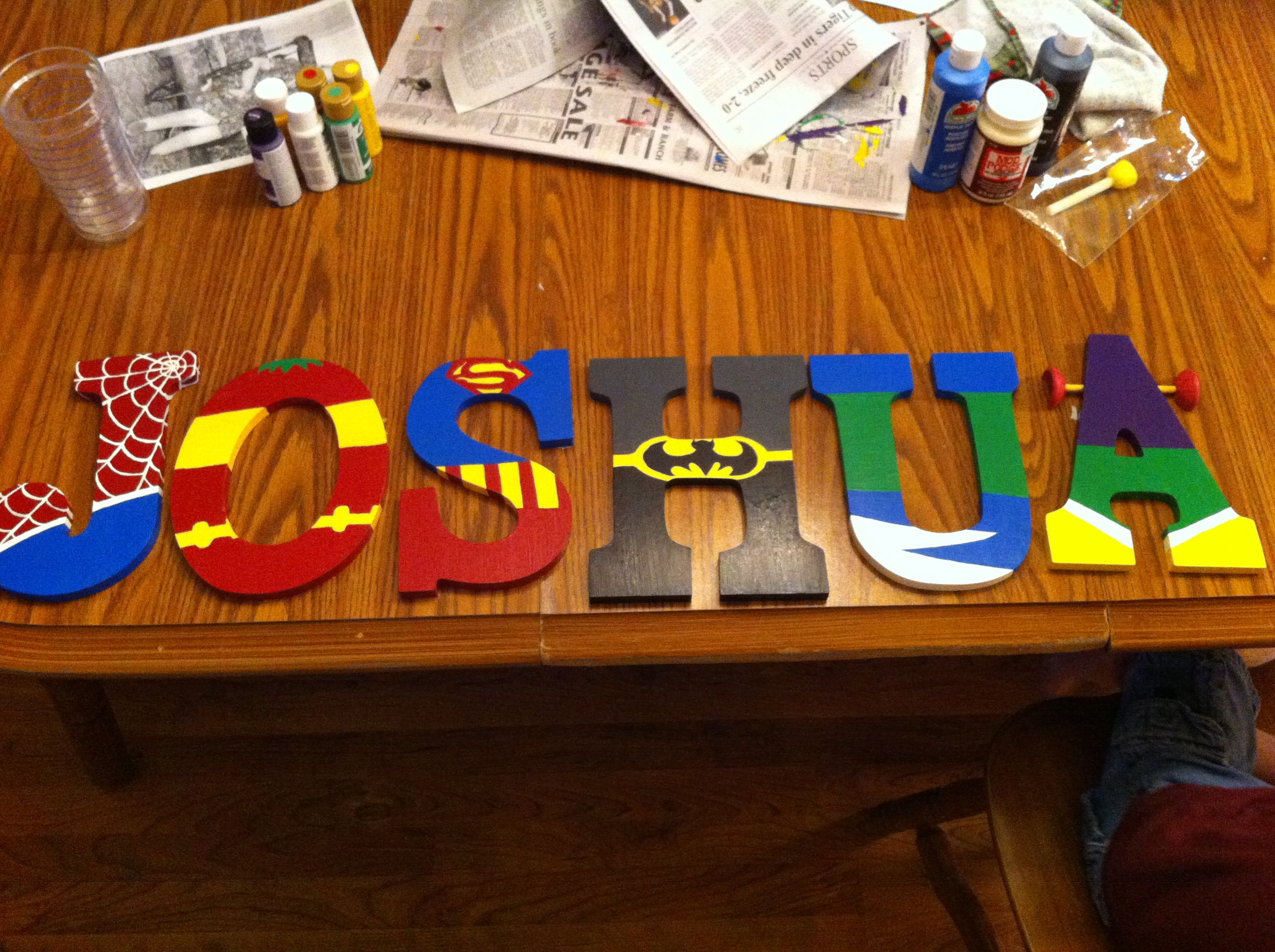 Decor for my son's new superhero room. I found inspiration from some clip art I found online. Then I drew the designs on each letter and painted, then finished each letter with mod podge. Only took about a day to finish with a little help from some of my awesome family!