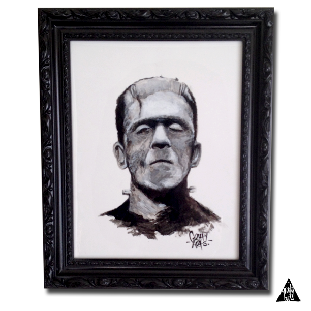 """Look! It's moving. It's alive. It's alive... It's alive, it's moving, it's alive, it's alive, it's alive, it's alive, IT'S ALIVE! - Henry Frankenstein-Framed Frankenstein Study Painting.Acrylic on watercolor stock.Frame dimensions 14"""" x 17"""