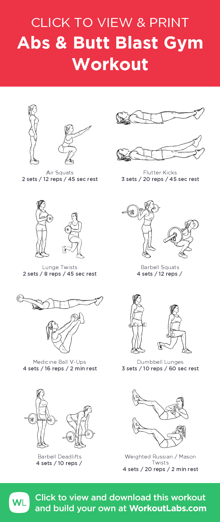 Abs & Butt Blast Gym Workout – illustrated exercise plan