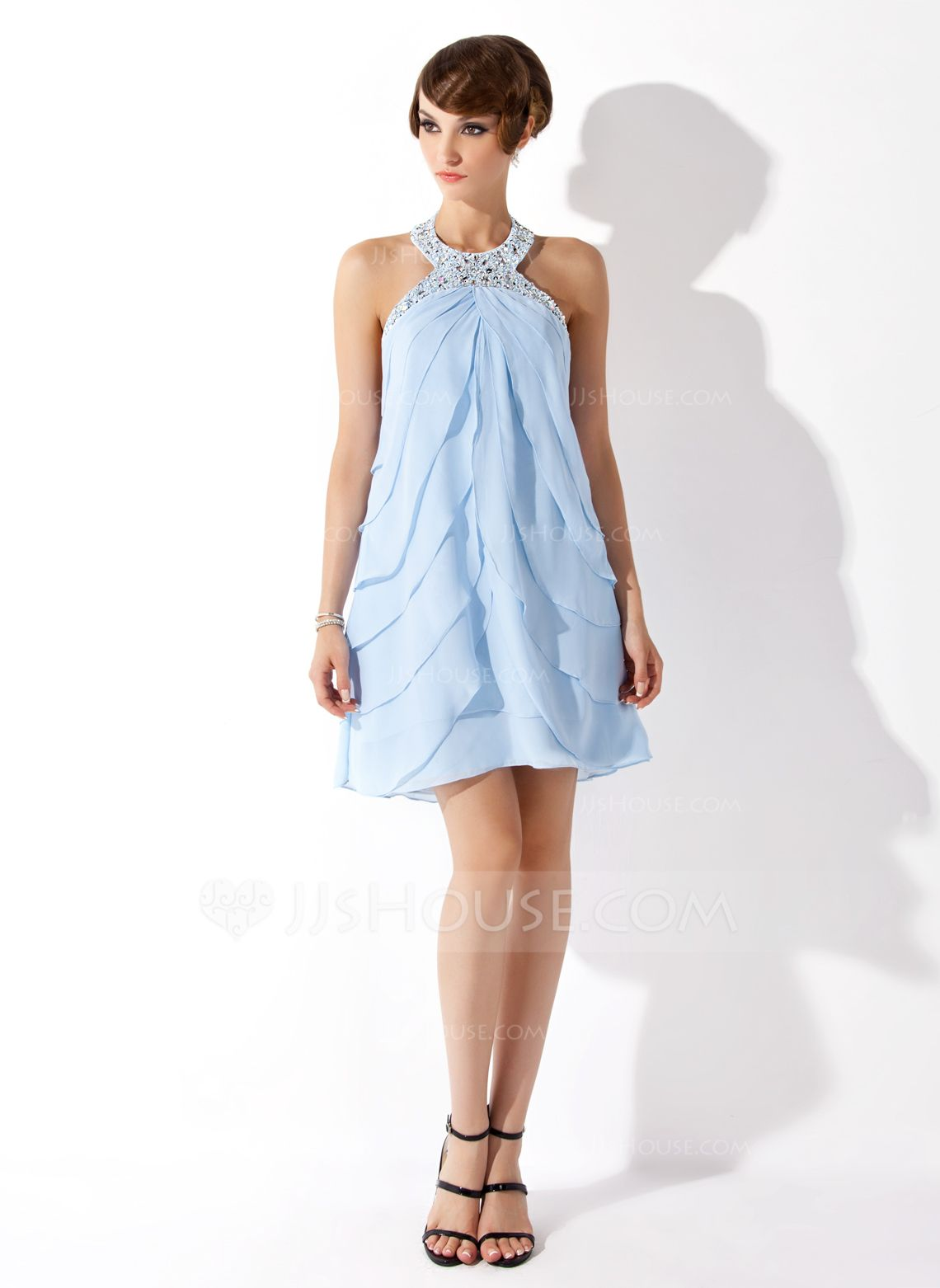 short chiffon sheath halter dress