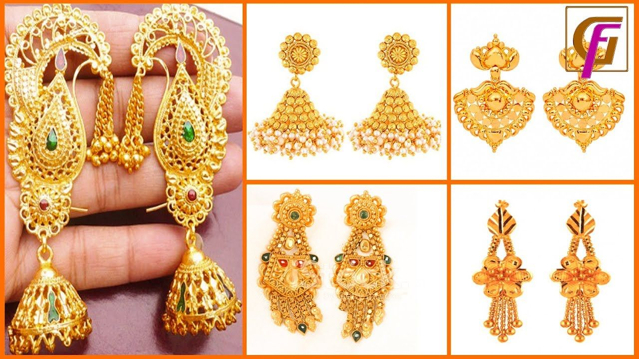 Latest Gold Earrings Designs 2018| stylish gold Earring ...