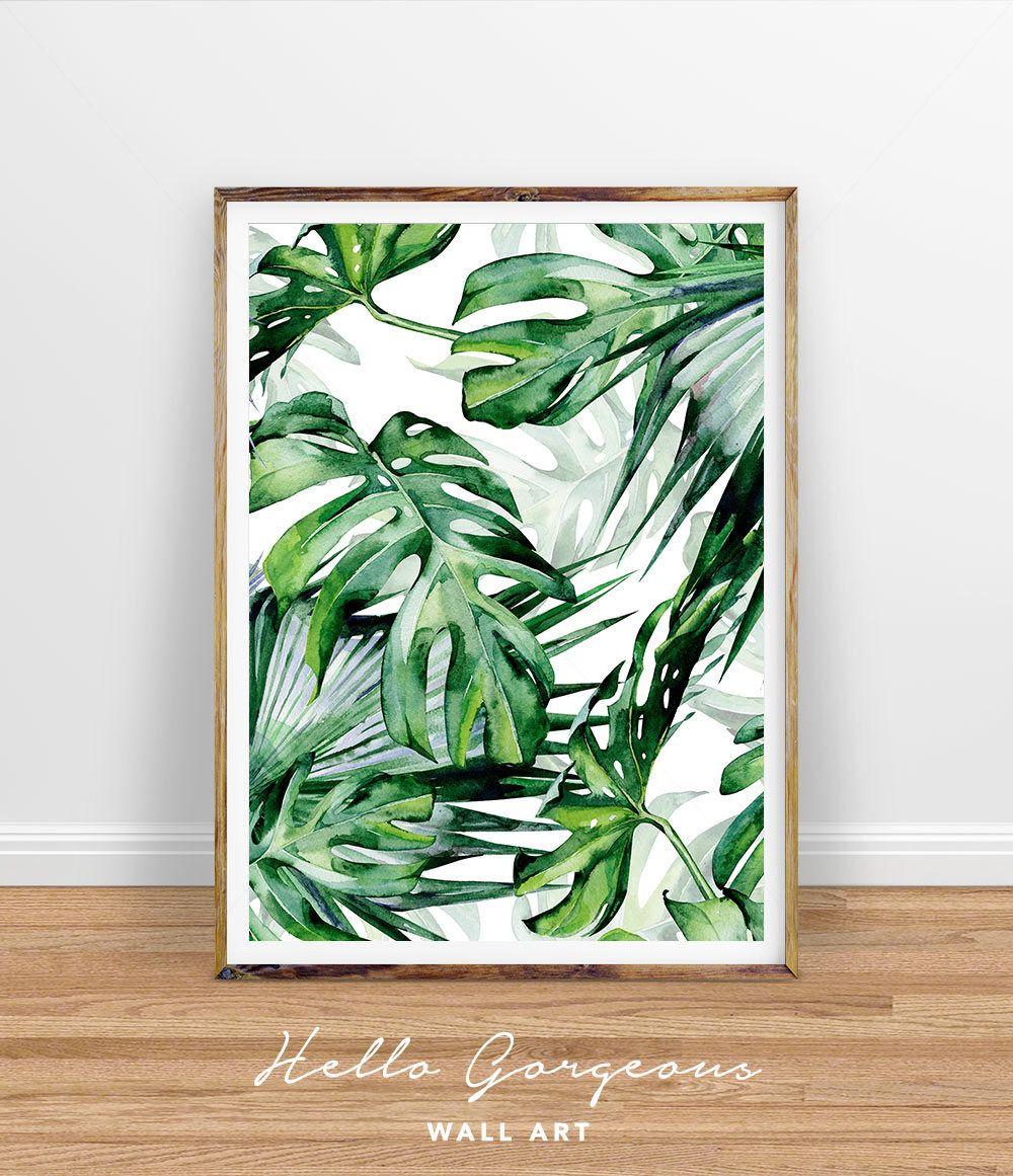 Superbe Monstera Leaf Print, Tropical Palm Leaves Print, Tropical Wall Decor,  Tropical Print,