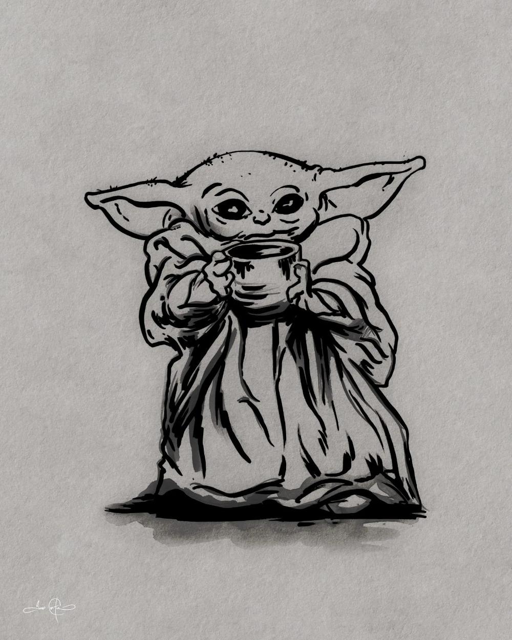 Fan Art Drawing Of Baby Yoda Id8tionist Fan Art Drawing Yoda Art Art Drawings