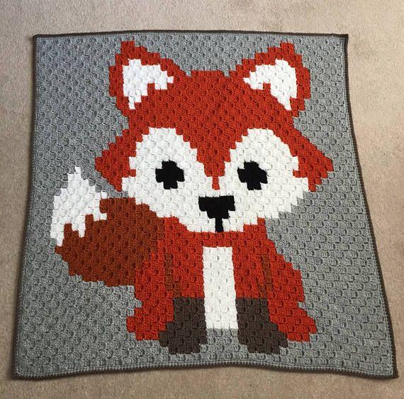 Crochet Fox Blanket Corner To Corner Blanket Fox Baby