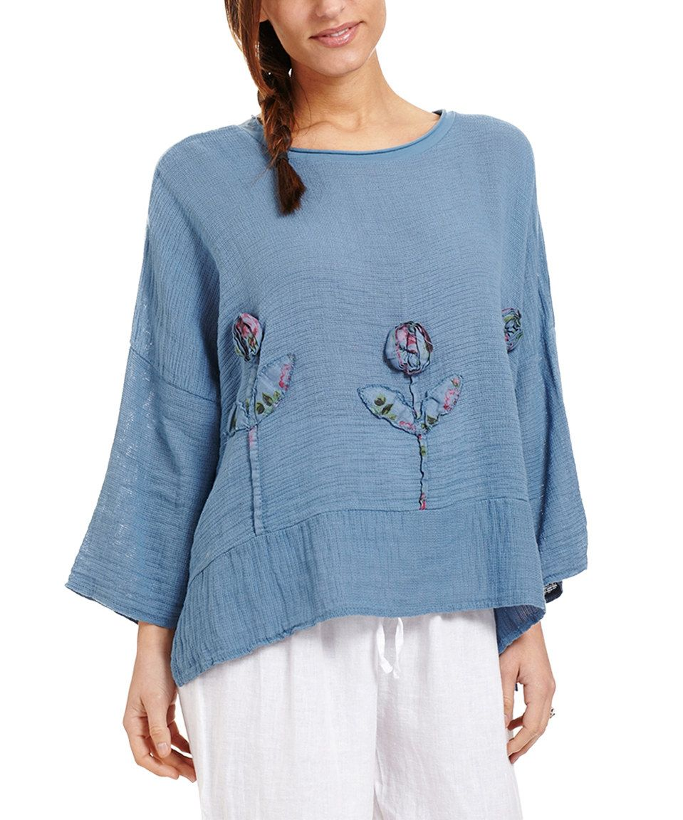 Look at this #zulilyfind! Faded Blue Floral-Detail Linen Cape-Sleeve ...