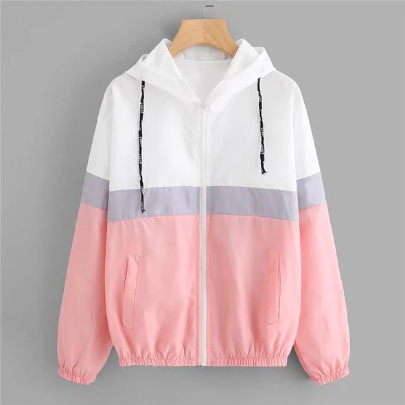 SweatyRocks Color Block Elastic Waist Drawstring Jacket 2018 New Fashion Multicolor Zipper Woman Clothing Ladies Spring Jacket