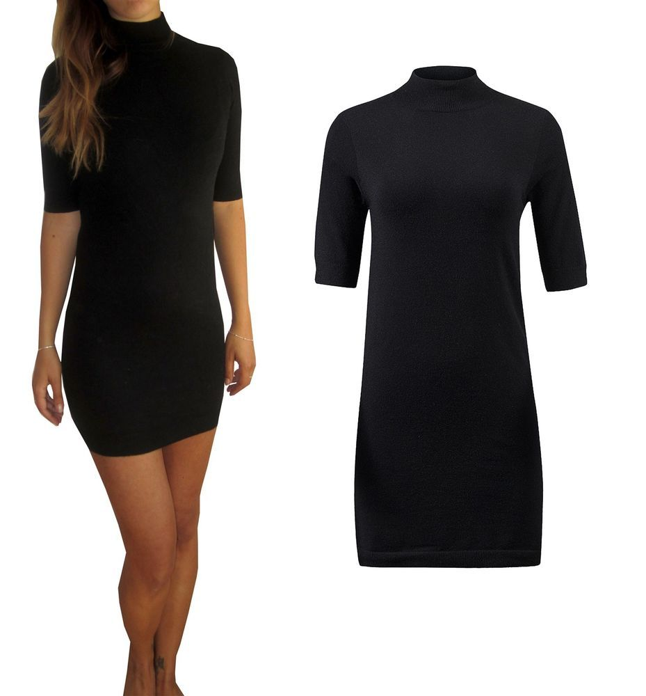 Ladies soft knit knitted black jumper day dress sleeve polo neck