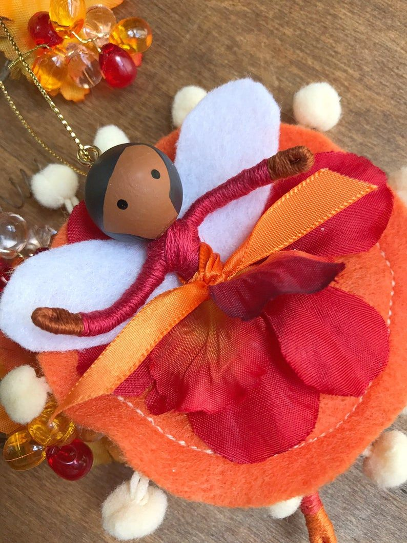 Fall Autumn Fairy Felt African American Doll Ornament