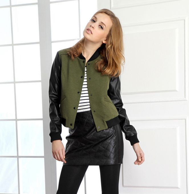 Girls Varsity Baseball Jacket 2013 Olive Black | herve leger ...