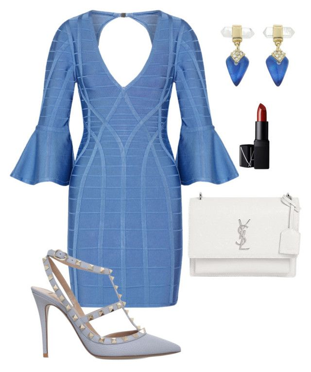 """""""Blue brunch"""" by arni-lewis on Polyvore featuring Hervé Léger, Alexis Bittar, Valentino, Yves Saint Laurent and NARS Cosmetics"""