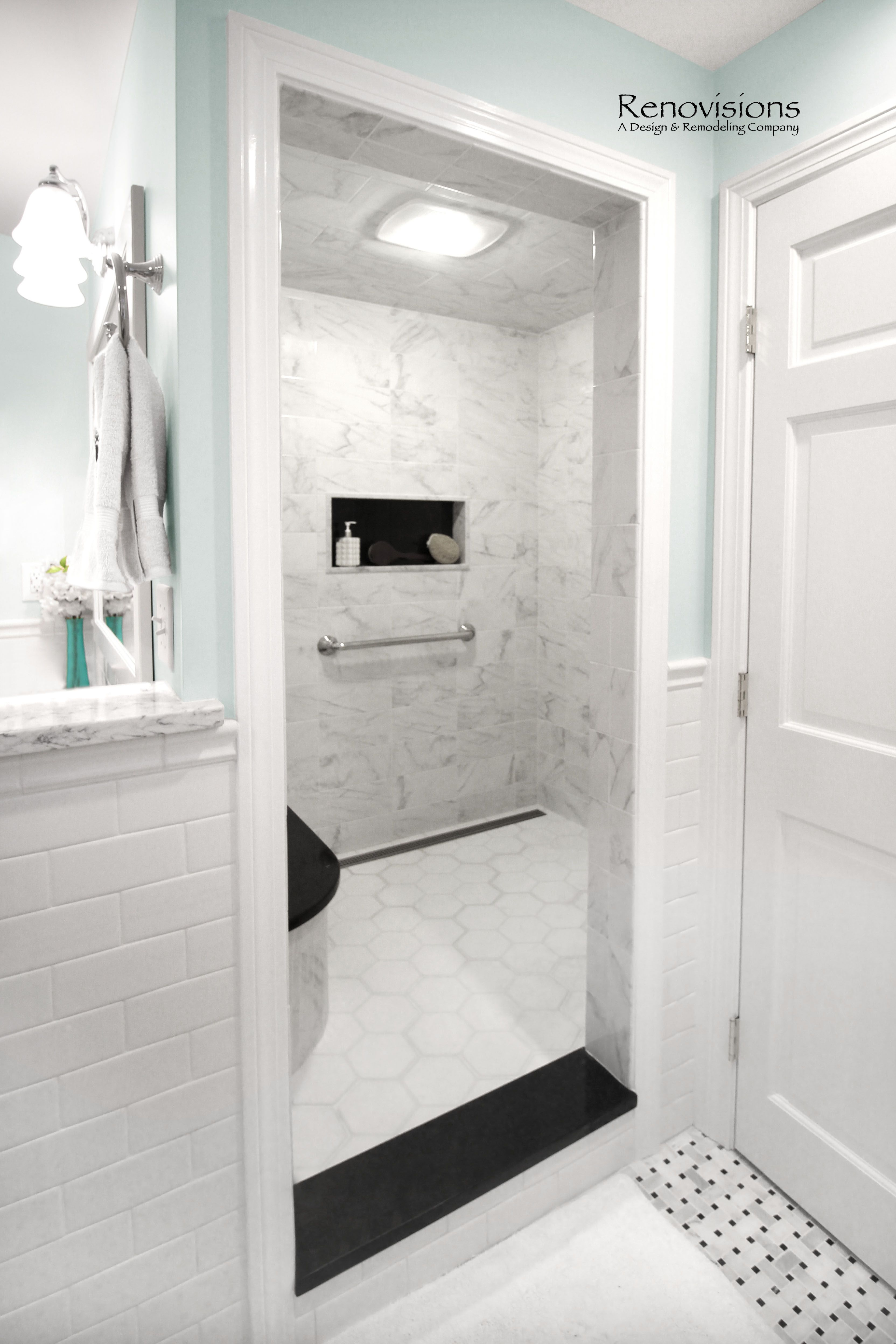 Master Bathroom remodel by Renovisions in Norwell, MA. Marble basket ...