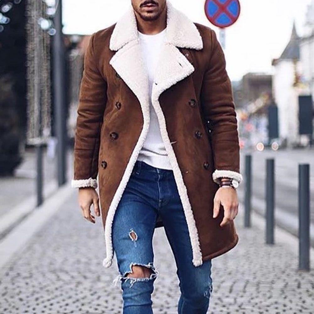 Mid Length Winter Men S Coat Street Style Jacket Mens Coats Faux Fur Coat Men [ 1000 x 1000 Pixel ]