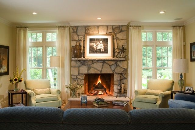 window beside fireplace family room decorating traditional rh pinterest com