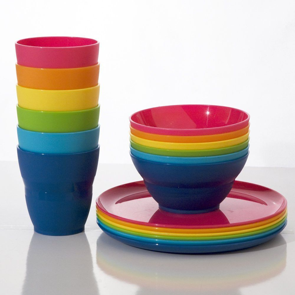 Kids Bpa Free Plastic Dinnerware Rainbow Cups Bowls Plates Stackable Travel  Set