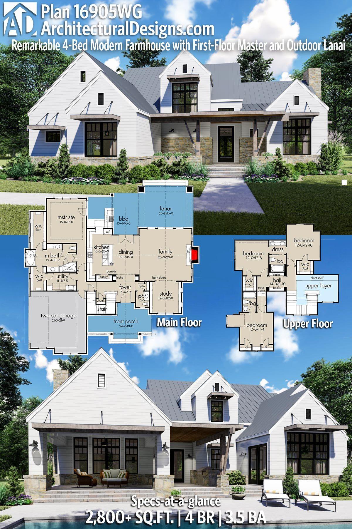 plan 16905wg remarkable 4 bed modern farmhouse with first floor rh pinterest com