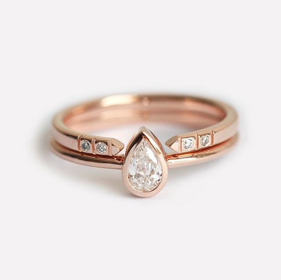 Rose Gold Diamond Engagement Ring Set Pear Diamond Ring With Open