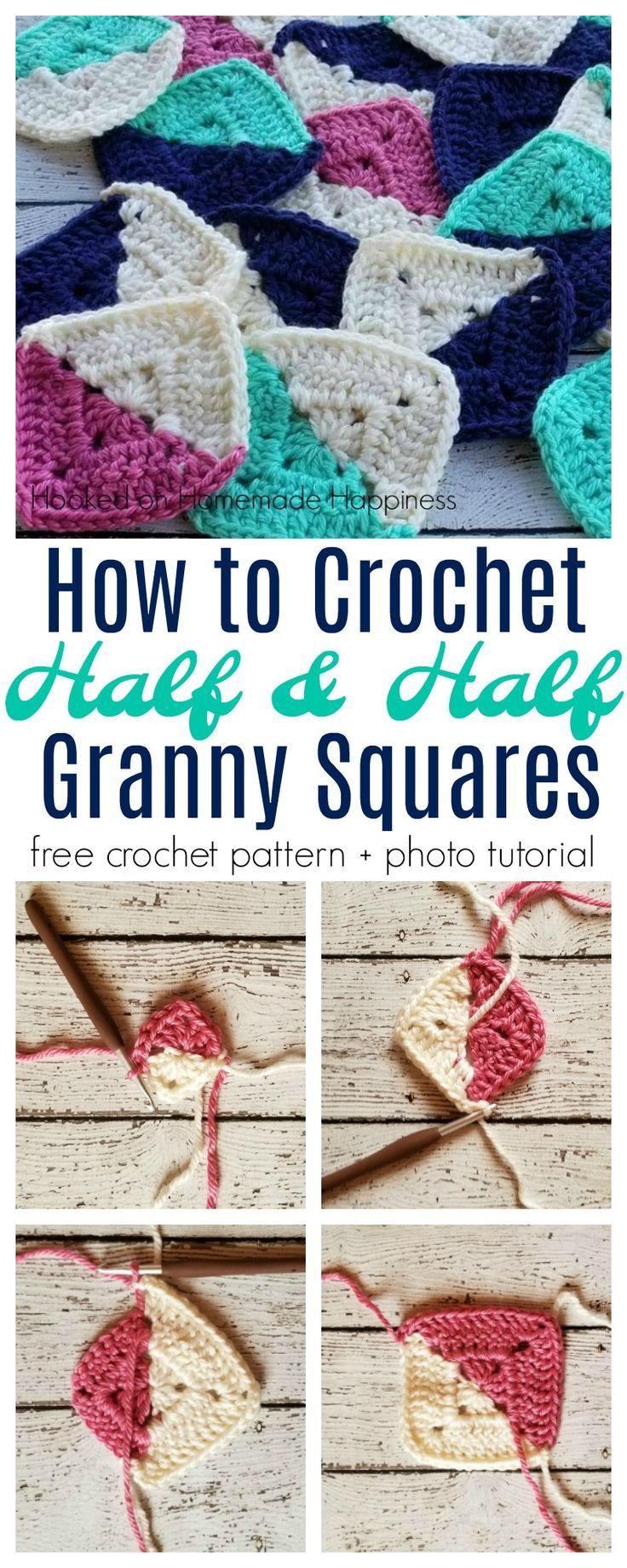 Half and Half Granny Square Crochet Pattern | Crochet ideas ...