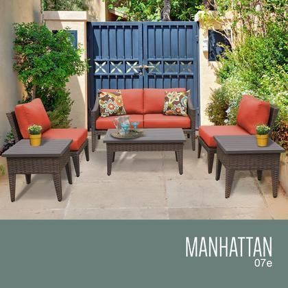 MANHATTAN 07e TANGERINE Manhattan 7 Piece Outdoor Wicker Patio Furniture Set  07e With 2