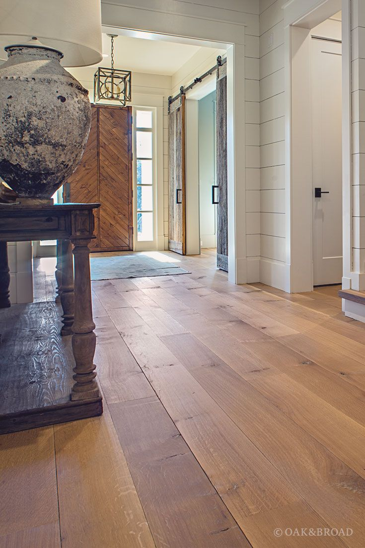wide plank white oak flooring. Wide Plank White Oak Hardwood Floor By And Broad With Custom Stain | Entryway Reclaimed Style Wood Door Iron Hardware Discover Flooring S