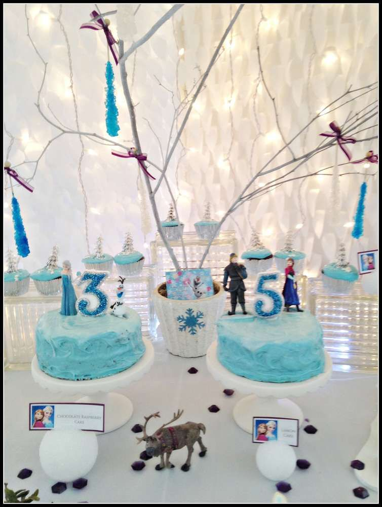 Frozen Birthday Party cakes for a 3 and 5 year old! See