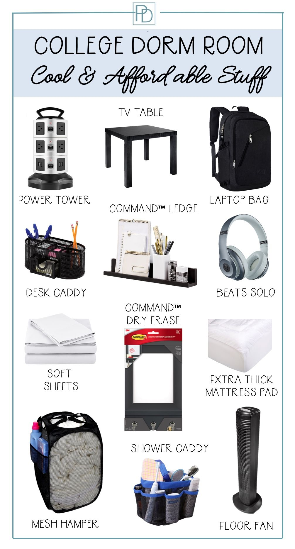 Post includes a packing list organized by category and printable to take  with you shopping for dorm room supplies. #freshmandorm #dormdecor  #collegedorm ...