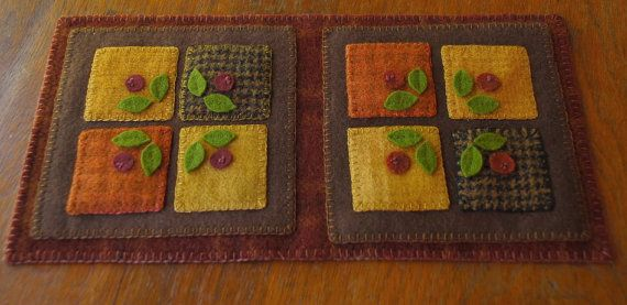 Primitive wool applique penny rug candle mat table topper runner felted hand dyed wool mill dyed wool red plaid wool
