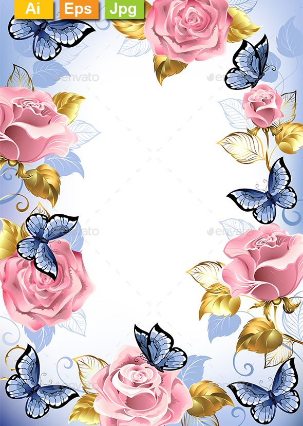 Frame with pink roses, blue butterflies, gold and blue
