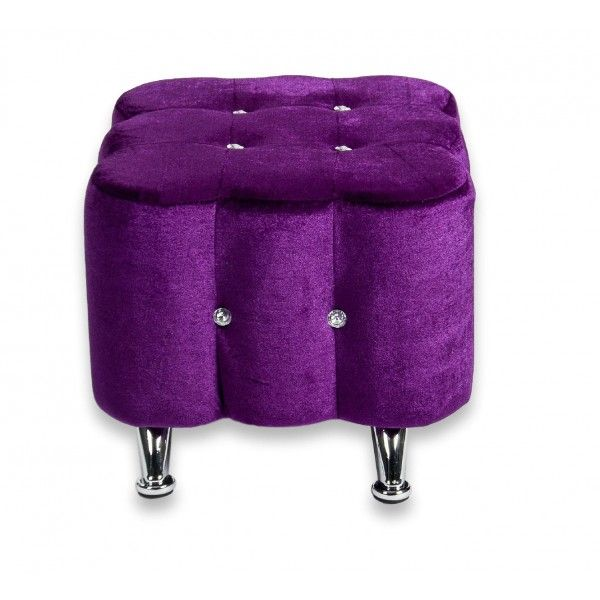 Strange Elegant Purple Velvet Ottoman Seat Chair Footstool Metal Dailytribune Chair Design For Home Dailytribuneorg