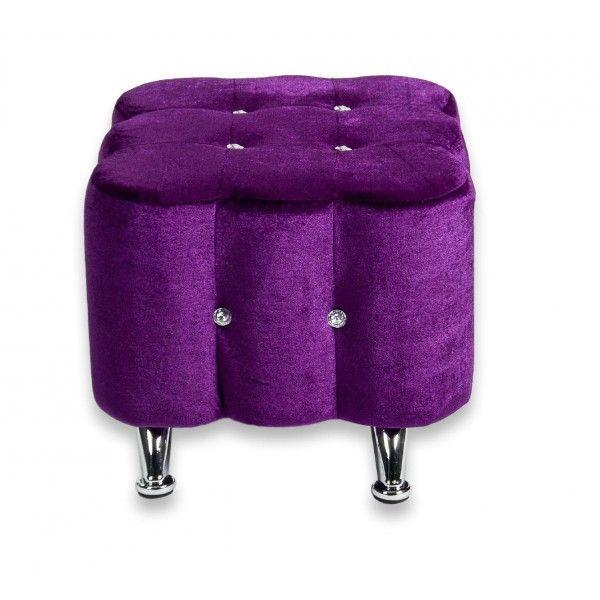 Elegant Purple Velvet Ottoman Seat Chair Footstool Metal Legs
