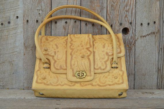 Vintage Blonde Leather Hand Tooled Floral Southwestern Handbag