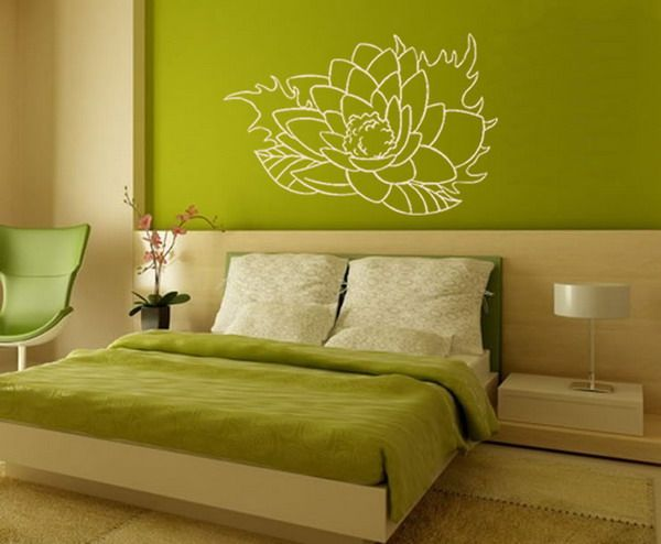 floral wall decal  zen interiors green wall color