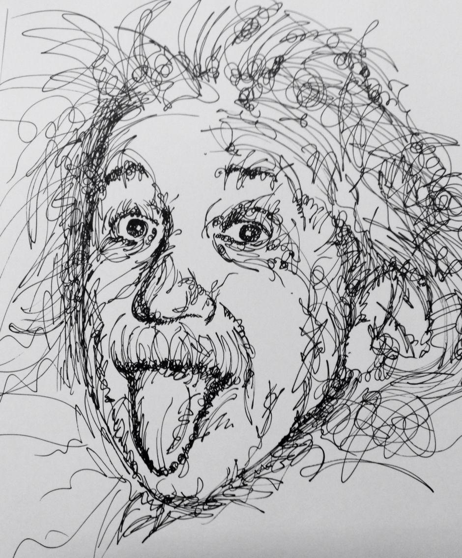 Scribble Sketch Drawing : Albert einstein black pen scribble art my pencil