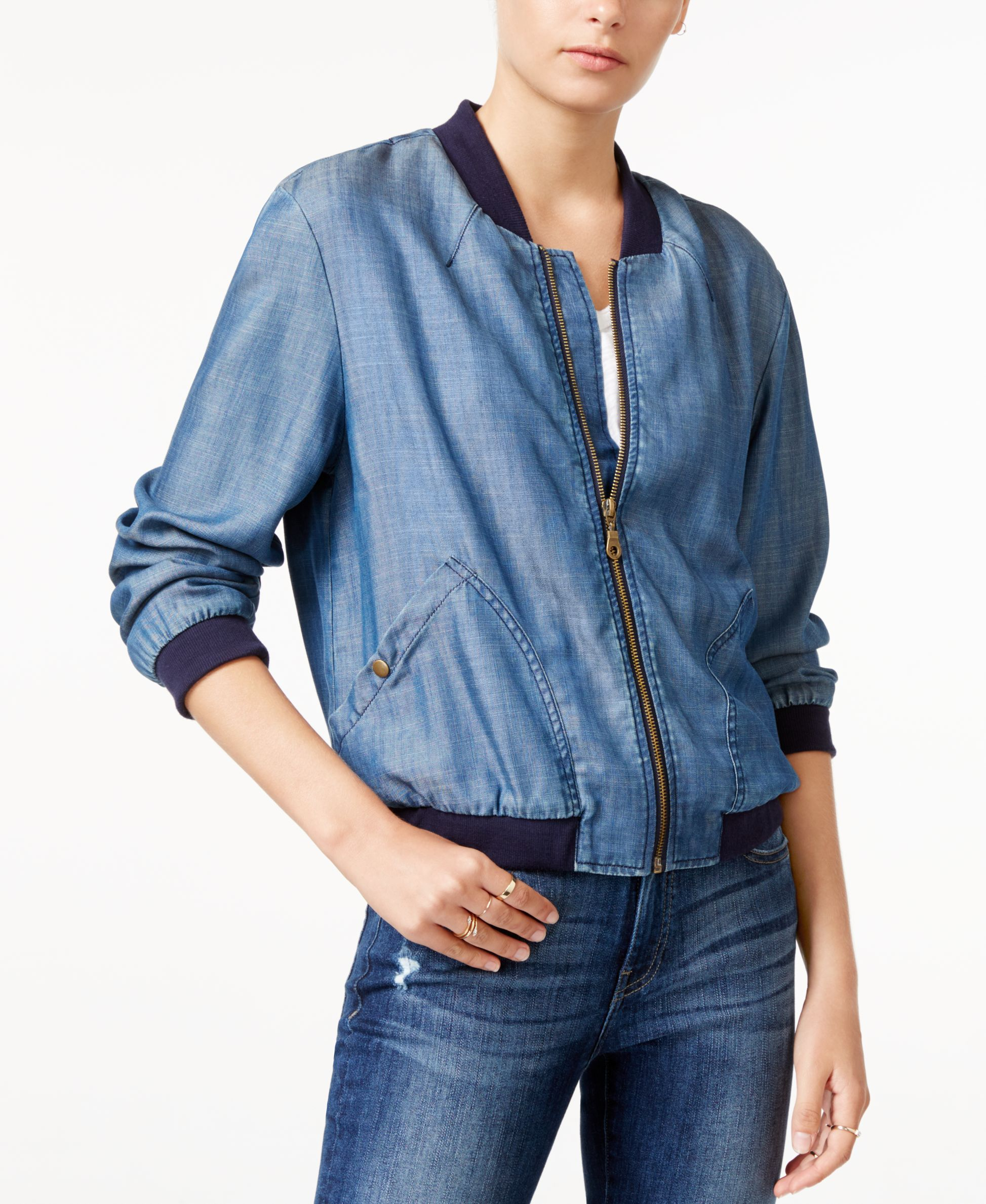 For ultimate casual style, top your look with this cute bomber jacket from Velvet Heart. | Tencel®; ribbed contrast: cotton/elastane/polyester | Machine washable | Imported | Ribbed baseball collar |