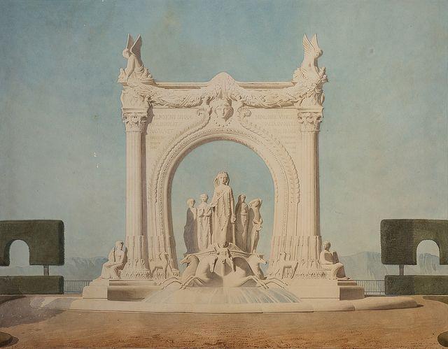 projet de château d'eau sur le plateau de Longchamp (Jean Danjoy et Nicolle), Archives municipales de Marseille 1855 - photo by Xavier de Jauréguiberry