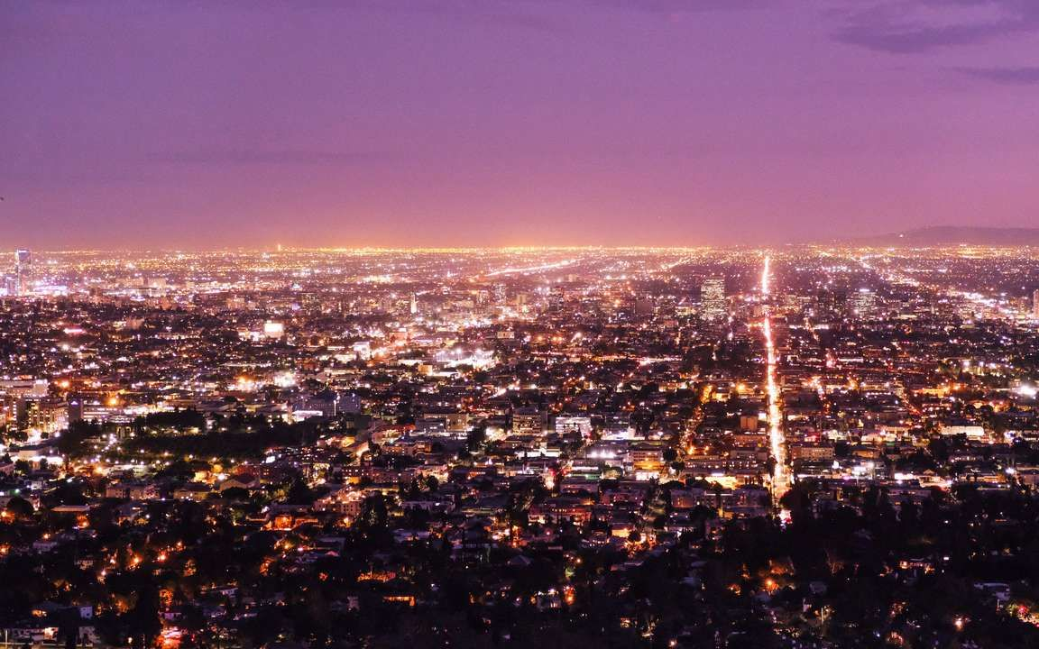 Download Wallpaper 3840x2400 Los Angeles Usa Panorama Night