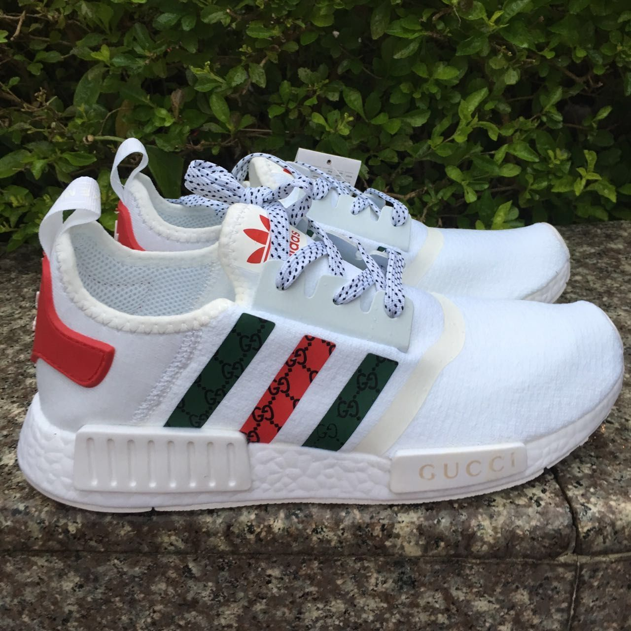 aa023d077203 custom paint womens adidas nmd casual shoes gucci style white color  athletic run sneakers with custom laces Note that this shoes also coming  with the ...