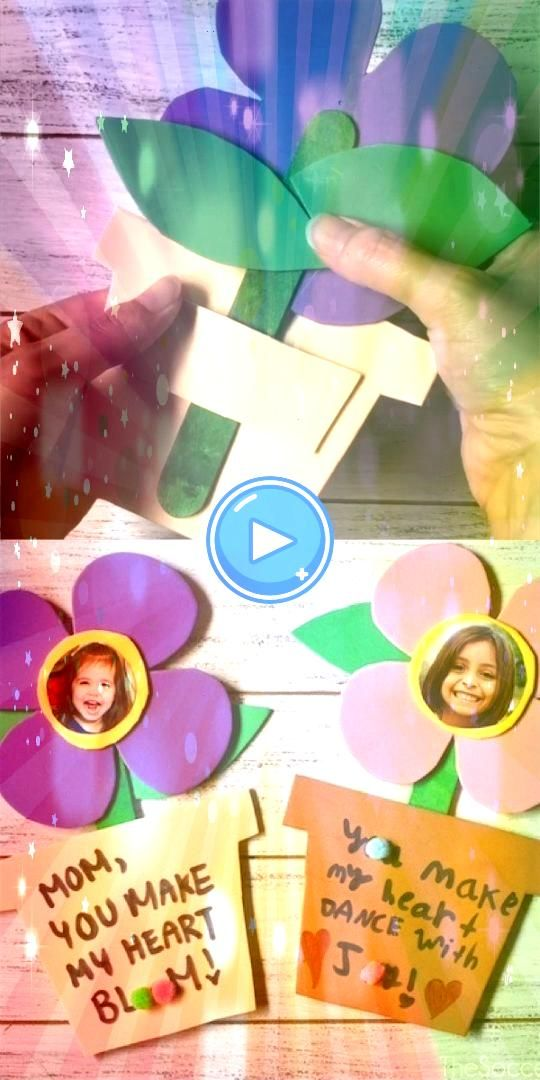 Mothers Day Flower Craft Dancing Mothers Day Flower Craft  Amazing Paper Crafts FLOWER CARD   make a MOM or photo Mothers day flower card Comes with a flower template An...
